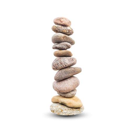 Stones high pyramid, balance symbol isolated on white background