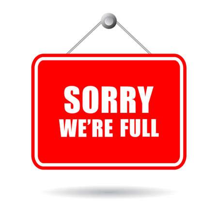 Sorry we're full vector sign isolated on white background Vektorgrafik