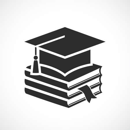 Academic hat and textbooks, graduation icon on white background
