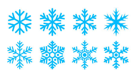 Blue snowflake icons collection isolated on white background Иллюстрация