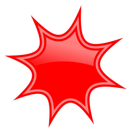 Red star burst icon isolated on white background  イラスト・ベクター素材