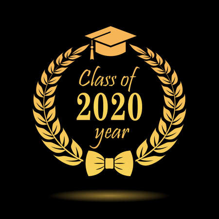 Gold vector emblem class of 2020 on black background