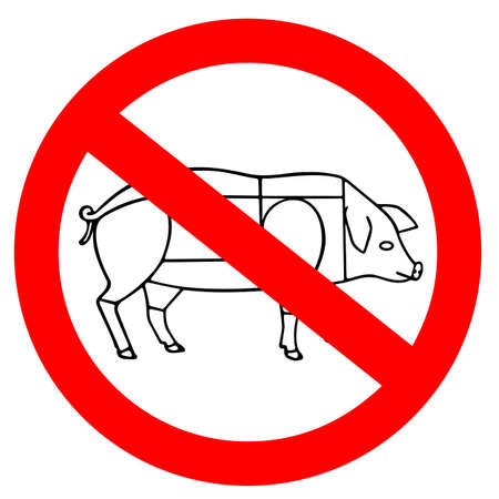 No animal meat sign, vegetarian concept isolated on white background Ilustrace