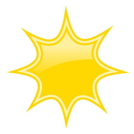 Yellow bursting star icon isolated on white background