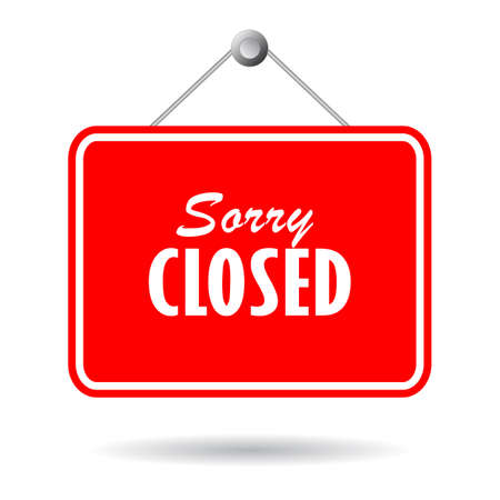 Closed vector sign on white background