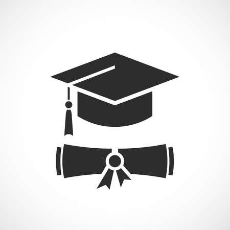 Graduation cap and education diploma vector icon on white background Vektorgrafik