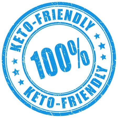 Keto friendly blue ink stamp on white background Vettoriali