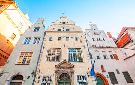 Medieval three houses in Riga called The Three Brothers, Latvia