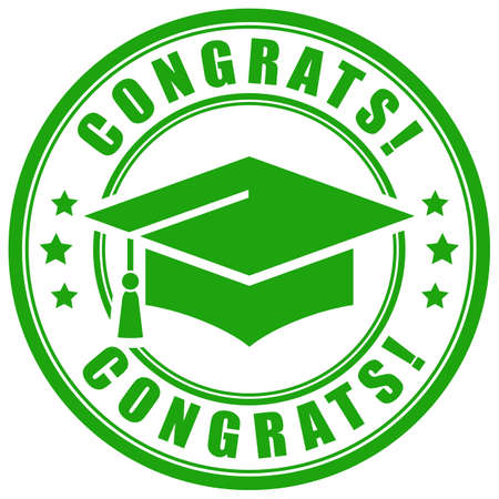 Congrats graduation vector sign on white background