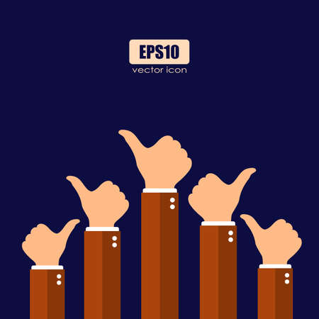 Thumb up raised hands, vector poster design