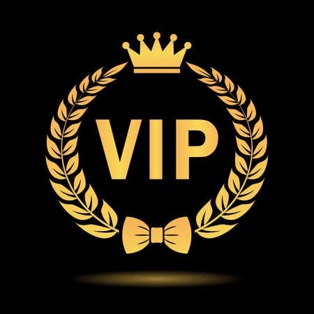Vip member gold icon isolated on black background