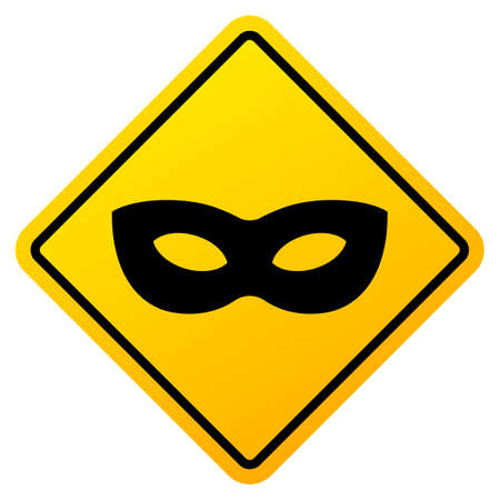 Anonym mask vector caution sign on white background