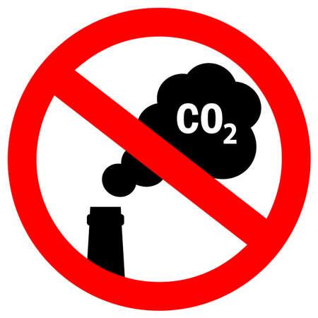 Aucune émission de dioxyde de carbone dans le signe vectoriel de l'atmosphère Vecteurs
