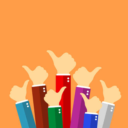People show thumb up sign, vector poster illustration
