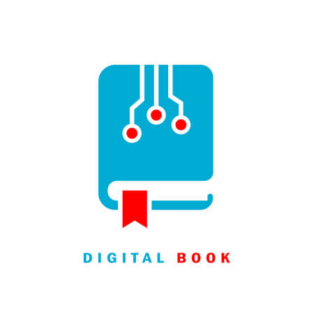 Digital e-book vector icon, e-learning concept on white background