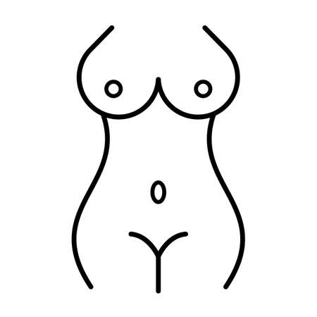 Naked women figure simplified line icon