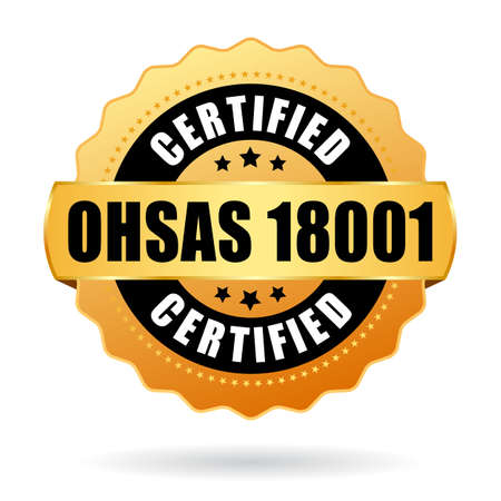 Ohsas 18001 certified vector icon on white background