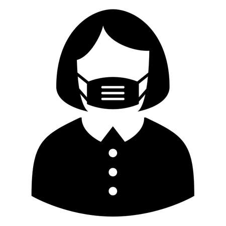 Person wearing face mask vector icon isolated on white background