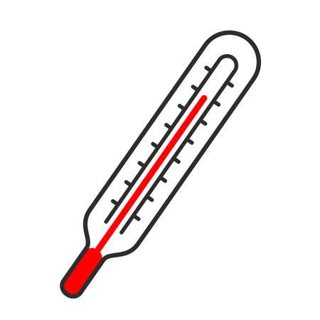 Medical thermometer and high temperature icon isolated on white background