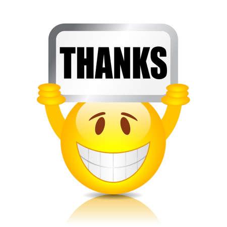 Emoji holding thanks sign, vector illustration