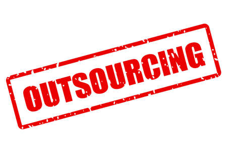 Outsourcing vector stamp on white background Çizim