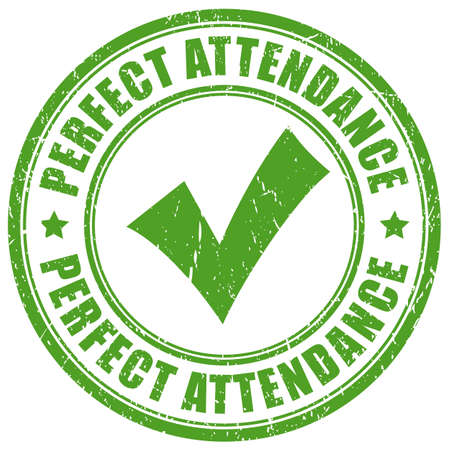 Green stamp perfect attendance on white background