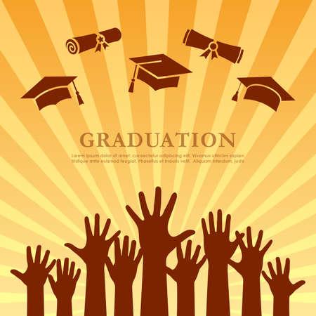 Striped graduation poster design, vector illustration