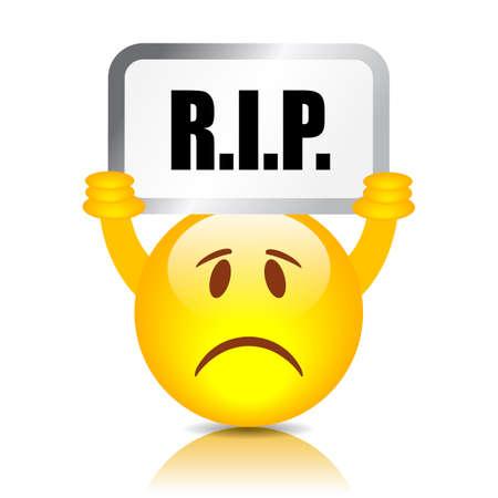 RIP sad emoticon vector illustration on white background Illustration