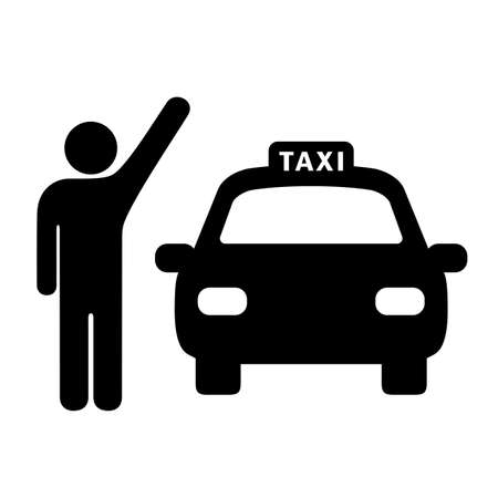 Person catching taxi vector icon on white background