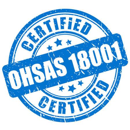 Ink grunge stamp Ohsas 18001 certified