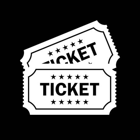 Tickets vector icon isolated on black background Vector Illustration