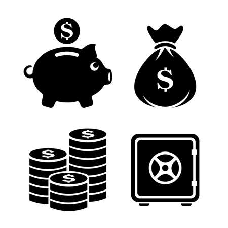 Money and finance vector icons set isolated on white background 向量圖像