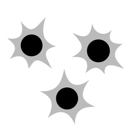Bullet holes vector icon isolated on white background Çizim