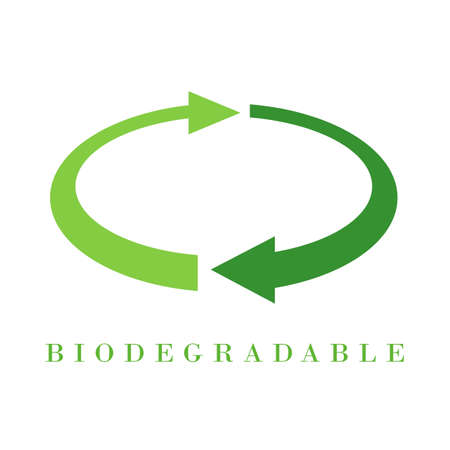 Biodegradable material vector sign on white background Illustration