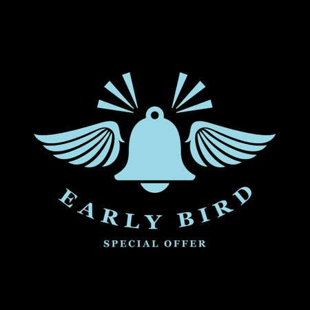 Early bird retro icon on black background
