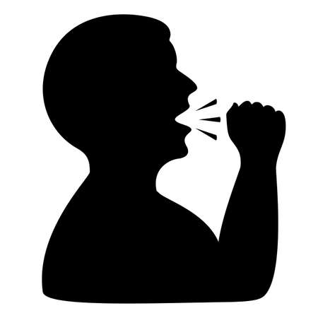 Man coughing vector icon isolated on white background