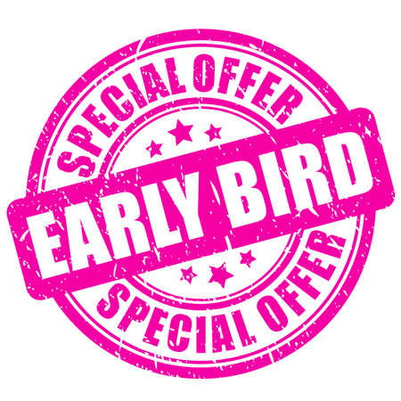 Pink stamp early bird, special offer on white background Vektorgrafik