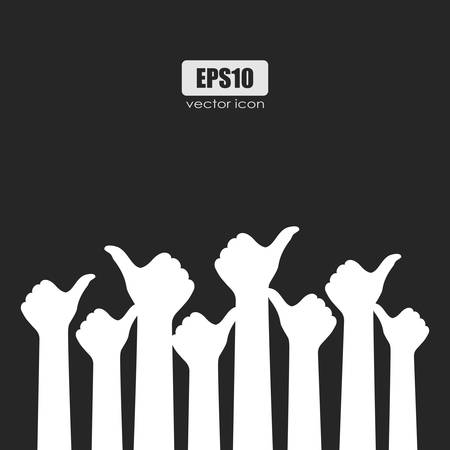 People showing thumb up sign, vector poster illustration Vectores