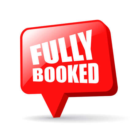 Fully booked announce board isolated on white background