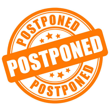 Postponed vector sign isolated on white background