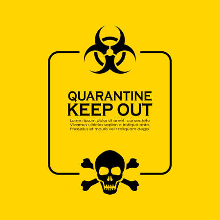 Quarantine information textbox, biohazard caution text on yellow background