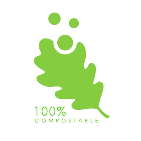 Compostable vector logo with green leaf on white background