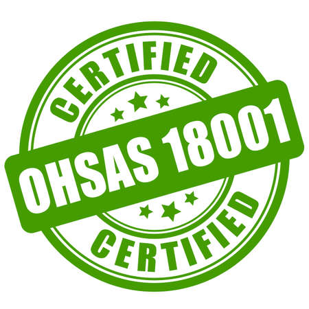 Ohsas 18001 certified green label isolated on white background