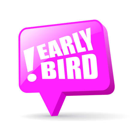 Early bird offer pink vector icon isolated on white background