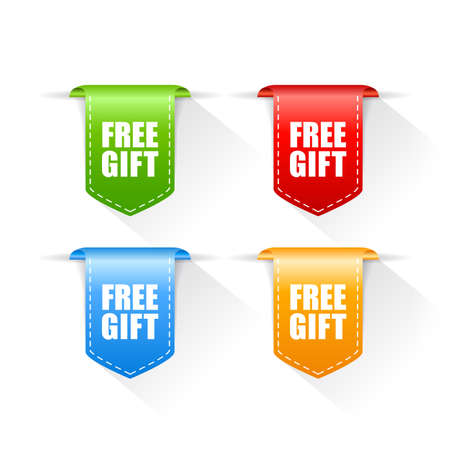 Free gift colorful ribbons set on white background Vettoriali