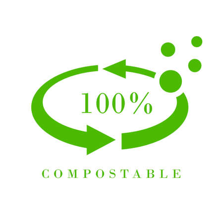 Compostable meterial vector icon on white background