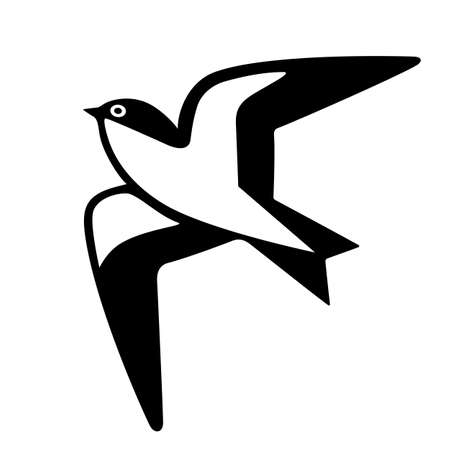Swallow bird vector icon on white background
