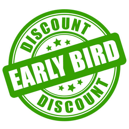Green early bird discount vector label on white background