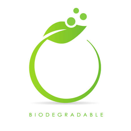 Text circle design with green leaf on white background