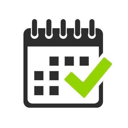 Calendar and check mark vector icon on white background Vetores